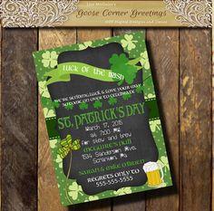 St. Patrick's day Invitation/Chalkboard by GooseCornerGreetings