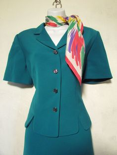 Sz 10 Petite Emerald Green Skirt by Lesuit with Bonus Scarf   eBay