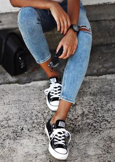 {Denim and sneakers.}