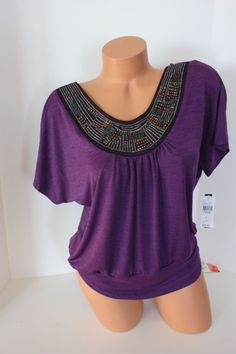 Blouse A Byer Purple Banded Waist With Beading SZ  L  Large New NWT #Style #Fashion #Deal