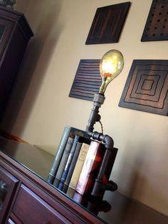 Vintage Wine Bottle Lamp - Table Lamp - Industrial Lighting - Steampunk Furniture - Pipes Fixture