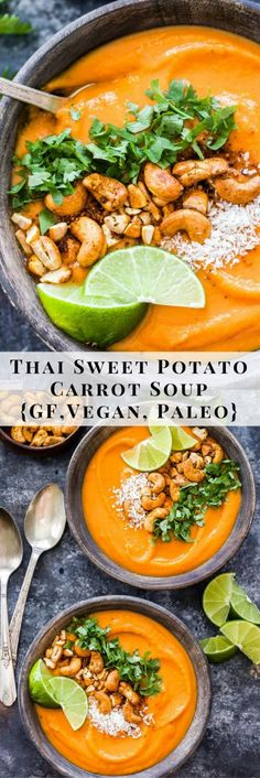 Thai Sweet Potato Carrot Soup is creamy sweet a little spicy. Thai Sweet Potato Carrot Soup is creamy sweet a little spicy and full of flavor! A healthy and filling soup that is sure to warm you up on a cold day. {Vegan Gluten-free and Paleo} Vegan Low Fat, Paleo Vegan, Thai Vegan, Vegan Detox, Vegan Gluten Free, Gluten Free Vegan Recipes Dinner, Paleo Recipes, Whole Food Recipes, Free Recipes