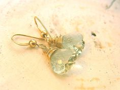 Green Amethyst Earring Leaf Earring Light Green  by QuietRobin, $35.00