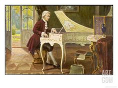 austrian composer | Wolfgang Amadeus Mozart the Austrian Composer Playing an Ornate ...