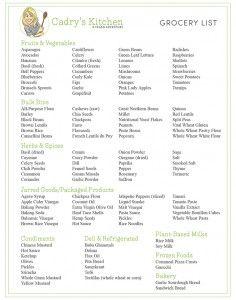 Printable vegan grocery list