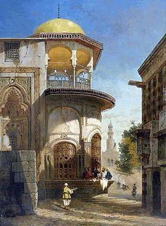 - Pintura Orientalista, Adrien Dauzats, Escena de la Calle - Decoración Árabe