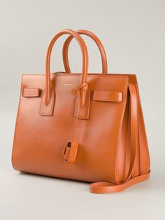 Orange calf leather small 'Sac de Jour' tote from Saint Laurent