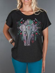 Women's Geometric Elephant Top- Aztec Elephant Women's Tshirt- Loose Fitting Open Neck T Shirt- Animal Graphic Tee- Women's Tops by Feather4Arrow on Etsy https://www.etsy.com/listing/161101946/womens-geometric-elephant-top-aztec
