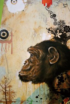 Blaine Fontana is busy, complex and looks at the interface of nature and man. Monkey Illustration, 8th Grade Art, Monkey Art, Artist Painting, Abstract Paintings, Mixed Media Artists, Painting Inspiration, Illustrations Posters, Illustrators
