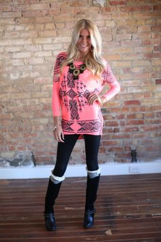 Modern Vintage Boutique - Better Together Aztec Top NEON Pink, $44.00 (http://www.modernvintageboutique.com/better-together-aztec-top-neon-pink.html)