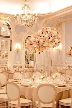 Pastel pink elegant dining room and tablescape with chandeliers. #home Flower Centerpieces, Wedding Centerpieces, Wedding Decorations, Tall Centerpiece, Tall Vases, Clear Vases, Flowers Decoration, Beautiful Decoration, Wedding Arrangements