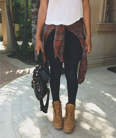 Like the idea of leggings with a tee...then a flannel tied around waist!