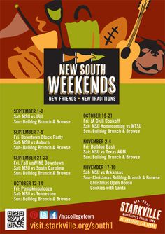 Poster for New South Weekends in Starkville, MS