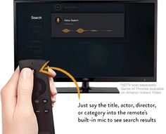 Know what you want to watch? Amazon Fire TV's Voice Remote has a built-in mic so you can instantly search TV shows, movies, actors, and genres using just your voice—no more typing with your remote to find what you want. Voice search is supported for the entirety of Amazon's video, app, and game catalog, plus for Hulu Plus, Crackle, Vevo and Showtime Anytime. We're confident Amazon Fire TV's voice search is the best you've ever used. You have to try it to believe it.
