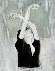 collage de l'artiste peintre Karine Léger- reminds me of Degas dancer sketches