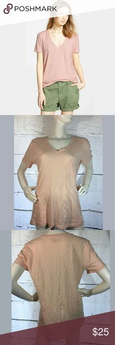 Madewell VNeck 100% Cotton Pocket Short Sleeve Tee Madewell VNeck 100% Cotton Pocket Short Sleeve Tshirt Blush Pink Large  Excellent used condition.   22 inches pit to pit.  28 inches long.   AB Madewell Tops Tees - Short Sleeve
