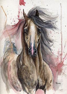 Dark grey arabian horse ink and watercolour by AngelHorses on Etsy, £140.00
