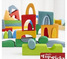 Kids Wooden Toys: Modern Rainbow Building Blocks