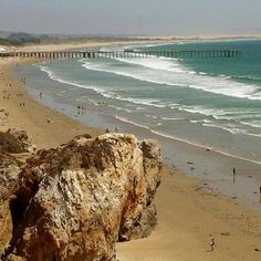 Pismo Beach, California - there's a crevice in that rock that's a great place to get married and have a little privacy for your friends and family. Pismo Beach California, California Dreamin', Places To Travel, Places To Go, Beach Fun, Pretty Beach, Paradise On Earth, Worldwide Travel, My Escape