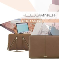 "Rebecca Minkoff Moto 13/"" Sleeve Case for Macbook Laptop Almond Leather"
