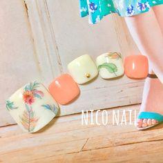 【 再販 】ボタニカルネイル・ネイルチップ・リゾート・ビーチ・足元おしゃれ・オトナ女子・旅行
