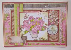 cutecrittercards. My anniversary card features a Jane Shasky stamp,relax and enjoy , by Joanna Sheen heart of the garden set. I've coloured with promarkers and added glamour dust. All the edges have been inked with brown chalk ink ,the sentiment is lili of the valley, the diecut swirls in with my order from Tracey at to die for. My with love card has 2 added flower eyelets and a cowboy boot charm