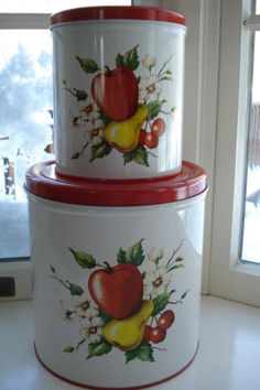 Vintage-Apple-Pear-Cherries-Dogwood-DECOWARE-Canisters-Set-of-2