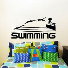Wall Decals Swimming Sport Logo Emblem Swimmer Gift Office Window Bedroom Dorm Room Boy Gift Nursery Vinyl Sticker Wall Decor Murals Decal: Amazon.co.uk: Kitchen & Home