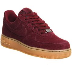Nike Air Force 1 '07 Prm Wmns ($115) ❤ liked on Polyvore featuring shoes, deep garnet gum suede, hers trainers, trainers, nike shoes, nike and nike footwear