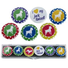 Jack Russell Terrier Dot Magnets - Set of 6 at The Animal Rescue Site