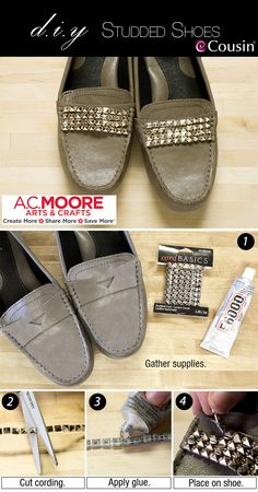 How to make studded shoes - how to add studs to your shoes - DIY studded shoe tutorial Source by . Diy Fashion Shoes, Fashion Boots, Diy Fashion Projects, Fashion Hacks, Shoe Makeover, Shoe Refashion, Embellished Shoes, Bling Shoes, Your Shoes