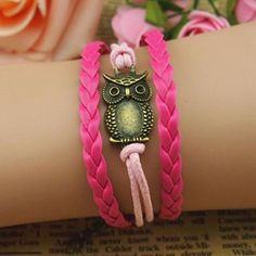 Chic Night Owl Embellished Knitted Multilayered Pink Charm Bracelet For Women, AS THE PICTURE in Bracelets | DressLily.com