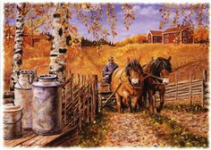 by Jan Bergerlind Arte Country, Country Life, Popular Paintings, Dream Pictures, Creation Photo, Nordic Art, Country Scenes, Vintage Farm, Landscape Wallpaper