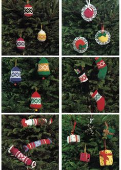 You will need a double knitting yarn and a pair of 3.75 mm knitting needles to make these lovely knitted Christmas Tree Decorations. Pattern available on Ebay.
