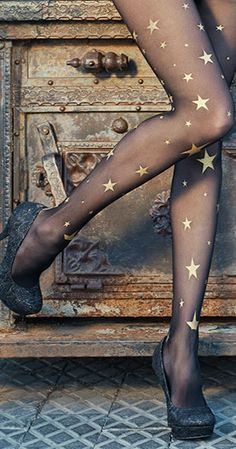 Create a fun & stylish Look with these Star Print Sheer Tights Black & Gold #TrendyLegs