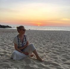 Looking the other way: Kylie Minogue was pictured for the first time since breaking her silence on her split with fiance Joshua Sasse, sharing an image to Instagram on Monday, showing her smiling contently