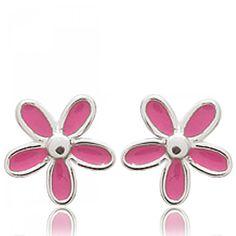 Ladies silver Petales rose pink earrings - Bijoux Paris Lady, Trendy Fashion, Unique, Earrings, Flowers, Pink, Jewelry, Style, Ear Rings
