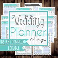 Wedding Planner-Printable Wedding Planner-Wedding Checklists-14 Documents-Instant Download & Editable
