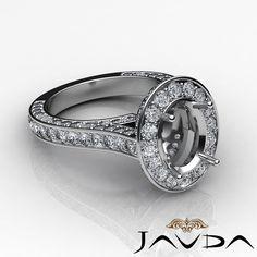 Oval Diamond Engagement Vintage Ring 14k w Gold Halo Pave Set Semi Mount 2 1ct | eBay