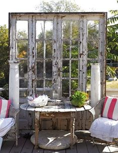 For patio or kids area New Looks For Old Salvaged Doors: More Repurposed Door Ideas!