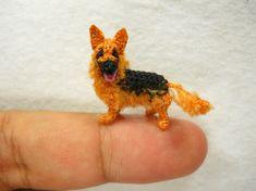 German Shepherd  Tiny Crochet Miniature Dog Stuffed by SuAmi
