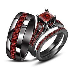 Red Garnet Wedding His/Her's Black Gold Finish Bridal Engagement Trio Ring Set Black Wedding Rings, Wedding Rings Simple, Beautiful Wedding Rings, Black Rings, Unique Rings, Trendy Wedding, Gold Wedding, Sapphire Wedding, Garnet Wedding Rings