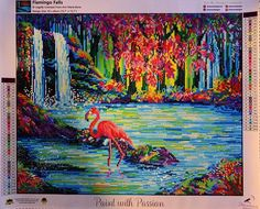"""Who wouldn't go crazy for these highlighter hues and pink Flamingo views!!! 💕 📸 Charlotte @diamond_drillz """"Flamingo Falls"""" by Ann Marie Bone @annmariebone Glow Effect, Diamond Paint, Autumn Art, Pink Flamingos, Canvas Material, The Dreamers, Color Blocking, Original Artwork, Mosaic"""