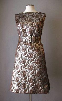 Vintage 60s Dress and Jacket Mod Metallic Mink Trim Medium bust 39: