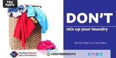 HobyClean #LaundryTip Hit by the rain!!! Don't mix dump or wet dirty clothes with dry but dirty clothes in the same laundry basket to avoid having a bad smell in your clothes. 👍 To know more 👉Subscribe, download our HobyClean Customer app or call us at +256776515244 or 🔗www.hobyclean.com #Hobyclean #stains #stainremoval #laundry #laundryservice #laundryday #laundrykiloan #laundrycoin #laundryekspress #laundryroom #laundrytime #coinlaundry #speedqueen #laundrysatuan #carpetcleaning #dirtycloth Coin Laundry, Laundry Basket, Online Laundry, Laundry Hacks, Laundry Service, How To Clean Carpet, Rain, How To Apply, Clothes