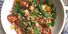 Best Farro Salad with Tomatoes, Green Beans, and Chickpeas with Basil Vinaigrette