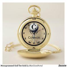Monogrammed Golf Tee Gold Pocket Watch Personalized Pocket Watch, Gold Pocket Watch, Golf Accessories, Personal Shopping, Make A Gift, Cool Watches, Quartz, Monogram, Man Shop