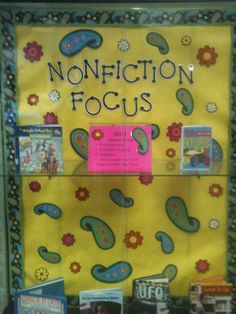 Nonfiction book case.  Feature different area of the Dewey Decimal system each month.  Change out sign in case and books each month.