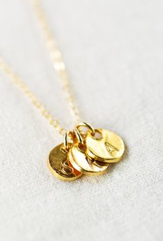 Makana necklace - gold personalized necklace, three initial necklace, https://www.etsy.com/listing/170320316