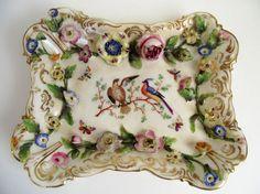 "ANTIQUE 1830s Coalport Coalbrookdale 7"" Porcelain Flower Encrusted Painted Dish #COALPORTCHINAPORCELAINCOALBROOKDALE"